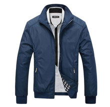 Men's Jacket Spring Autumn Jacket Solid Color Slim Plus Size Casual Coat Windbreak Outwear Y00120