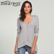 Buy Meaneor T-Shirts Women 2017 Fashion V-Neck Long Sleeve Solid Button Sexy ladies streetwear casual tops Autumn t shirt Clothes for $14.68 in AliExpress store
