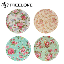 2pcs Food-grade Melamine Round Coasters American Pastoral Pan Pad Skid Proof Pot Pad Chinese Flower Heat Insulating Pad 6.5 inch