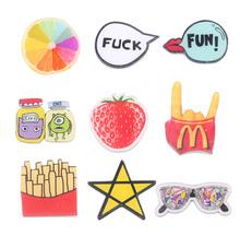 Fashion Japan Harajuku Cute Cartoon Design Acrylic Brooch Pin Star Chips Lemon Monster Strawberry Garment Jewelry Accessory