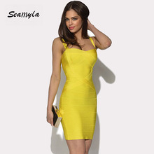 2017 Women candy color Spaghetti Strap Bandage Dresses Ladies prom sexy nightclub wear Summer Bodycon Celebrity party Dresses(China)