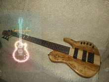 Wholesale and retail Custom HOT SALE customize 6 strings Electric bass Guitar Natural one piece body  Free Shipping