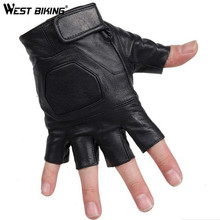 WEST BIKING Cycling Gloves Sheepskin Leather Half Finger Fitness Sports Luvas Outdoors Bike Bicycle Cycling Gloves For Men