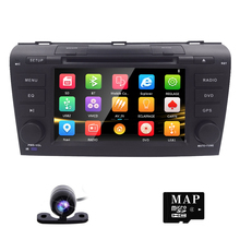 "Free Camera 7"" Double 2 Din Car Stereo DVD Player Navigation for Mazda 3 Mazda3 2004-2009 with GPS, Bluetooth, iPod, USB, SD, 3G"