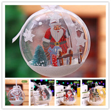 Christmas Decorations Ball High Quality Romantic Design Transparent Can Open Plastic Christmas Clear Bauble Ornament(China)