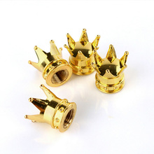 4PCS Golden Silver Crown Tire Tyre Valve Caps Car Truck Motocycle Mountain Bike Crown Shaped Tire Tyre Wheel Stem Air Valve Caps