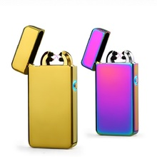 LED Light Cross Double Arc Electronic Cigarette Lighter USB Pulse Cigar Tobacco Lighter Windproof lighters Gifts -2014