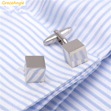 GraceAngie 2Pairs Square Shape Silver Color Classic Style Cufflinks Superior Sterling Suits Accessories for Commercial Meeting(China)