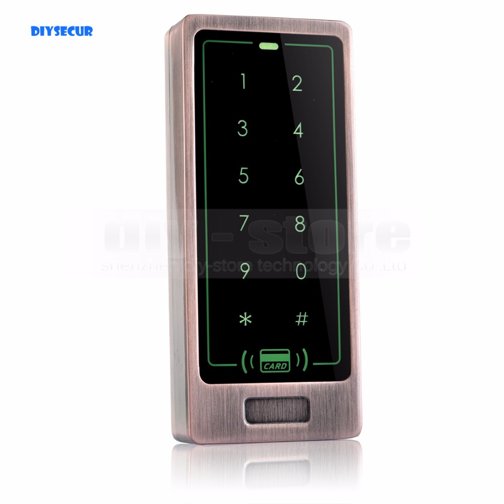 DIYSECUR 125KHz Touch Button Backlight Door Access Controller RFID Card Reader Metal Case Password Security Keypad<br>