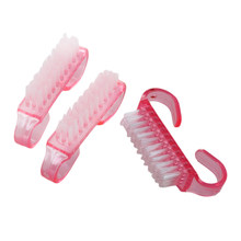 HOT-New Nail Art Plastic Cleaning Brush Finger Nail Care Dust Clean Handle Scrubbing(China)
