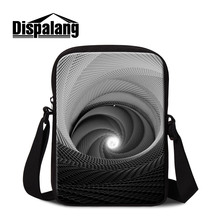 Dispalang geometric vortex pattern travel single shoulder bag for boys teens cross side bags casual mini bookbag for student(China)