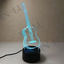 Free shippin7 Color Guitar Bedroom LED Desktop Table Lamp Christmas USB Valentines Day Birthday Gift 3D Touch Button Night Light