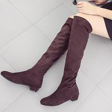 Women Boots 2017 Autumn Winter Ladies Fashion Flat Bottom Boots Shoes Over The Knee Thigh High Suede Long Boots Brand