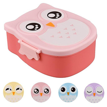 Cute Owl Shape Lunch Box Plastic Food Storage Container Portable Bento Box