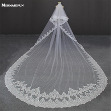 2017 Luxury 5 Meters Full Edge with Lace Bling Sequins Two Layers Long Wedding Veil with Comb White Ivory Bridal Veil(China)