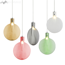 Nordic simple creative color table tennis racket pendant lamps glass pendant lights for living room restaurant bedroom lighting