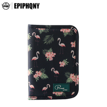 Epiphqny European Standard Environmental Printing Polyester Animal Flamingo Passport Cover Travel Organizer Credit Card Holder(China)