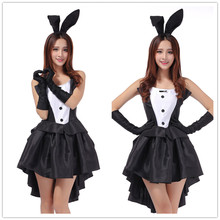 2017 Rabbit Halloween Costumes for Women Sexy Cosplay Dress Black Bunny Ears Babydoll Sexy Erotische Sexy Lingerie Women Uniform(China)