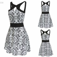 Alishebuy 2017 New Fashion Sleeveless Spaghetti Strap Backless Floral Cut Out Skater Party Dress Woman's Clothing