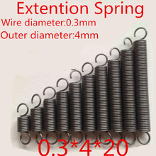 20pcs 0.3*4*20mm  Stainless Steel 304 Small coil extension spring with hook