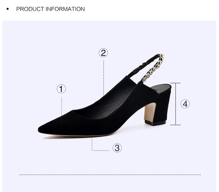 DONNA-IN GENUINE LEATHER LADIES SHOES POINTED TOE BACK-OPEN PUMPS THICK MID-HEEL EVENING SHOES 6339-1 (8)