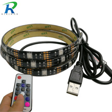 RiRi won black SMD USB RGB led strip light 30Leds/m 5050 Led Tapes diode Ribbon waterproof 17k controller for tv decoration(China)