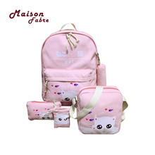 Best Deal Bags Fashion 2017 Tide Canvas Student Bag Female Travel Backpack College Wind Five Set Best Gifts Aug28 Drop Shipping