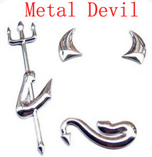1Pcs,Silvery Devil Metal Car Emblem Metal Car Badge ,car styling emblem decal, with double side adhesive,Free shipping