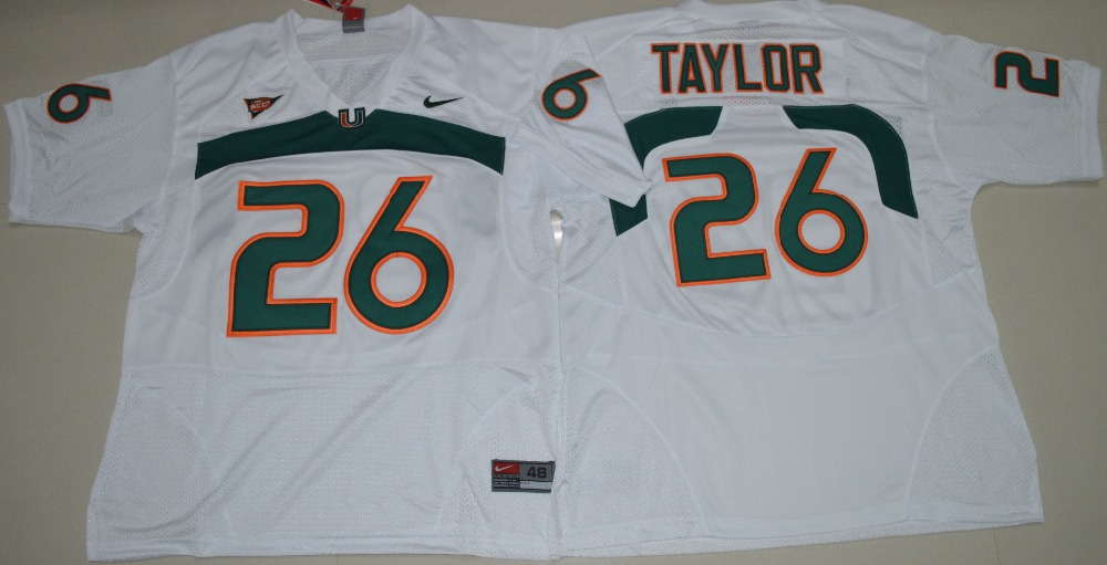 NIKE New Arrival High Quality Miami Hurricanes Sean Taylor 26 College Ice Hockey Jerseys - White Size M L XL 2XL 3XL(China)