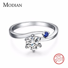 2017 NEW fashion Luxury Charm 1.5Ct Blue Zc Wedding Ring Women Party Jewelry Real Solid 925 Sterling Silver rings Free Shipping(China)
