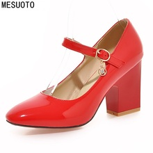 MESUOTO Classical Buckle Strap Spring Air Womens Dress Shoes Red Patent Leather Square High Heels Ladies Pumps Top Size 41
