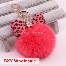 Export USA Exquisite High Quality 100% Real Fox  Hair Fur Ball Keychain For Women Bag Pendant Fashion Jewelry Key Holder