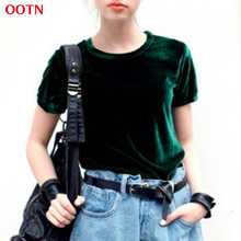 OOTN Summer Tops Short Sleeve Cotton Velvet T Shirt Women Green Red O Neck Casual Female Basic Tshirt Tees Work Top High Quality(China)