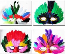 DIY Party feather mask fashion sexy women lady Halloween MARDI GRAS carnival colorful chicken feather Venice masks drop shipping