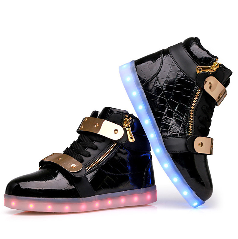 4 colors men women LED shoes chaussures luminous adult lights casual shoes high top 36-44 high qulaity USB charging dropshipping<br><br>Aliexpress