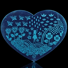 Happy River Spring Rain Water Nail Design Template Metal Heart Shape Plates H17