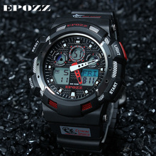 EPOZZ Men's Digital Watches Sports Wrist Watch G Style Male Clock Rubber Strap Black Red Color Waterproof 100M Relogio Masculino(China)