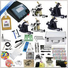 Complete Tattoo Kit 5 Starter Tattoo Machine Guns 40 Tattoo Inks Power Supply Needle Aluminum Kit Case