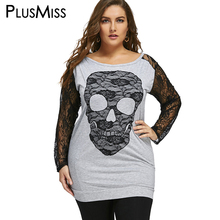 Plus Size 5XL Halloween Skull Print T-shirts Women Clothes Spring Autumn 2017 Lace Long Sleeve Tops Long T Shirt Oversized(China)