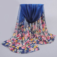 From India Spring Chiffon Scarf Women Silk Scarf Fashion 2017 Printing Women Chiffon Silk Scarf Shawls Sunscreen Wrap Cape(China)