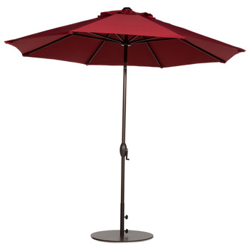 Abba Patio 9-Feet Patio Umbrella with Push Button Tilt and Crank 8 Steel Ribs Red