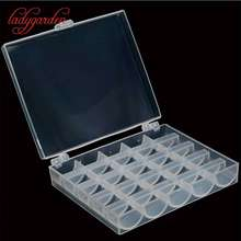 25 Slots Empty Bobbins Spools Box Sewing Machine Bobbin Case Covers Sewing Crafts Plastic Case Storage Box for Sewing Machine(China)