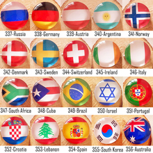 [inFour+] New 25 Countrys Flag Style Fashion Badge Glass Brooch For Women/Man Clothes Badge Decorative Rozet Collar Scarf Pin(China)