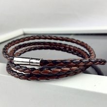 2016 New Style Latest Popular 3 Laps Vintage Leather Bracelet Men women Charm Bracelet multilayers wrap cuff wristband best gift