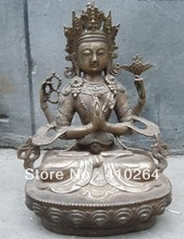 free shipping [Nice Discount ] fast Shipping 12 Inch China bronze gild carved four arm Kwan-yin buddha Statues