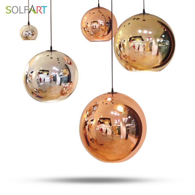 Led Pendant Lights Round Gold Bronze Color Glass Cord Pendant Dining Room Foyer Lighting 90-260v Light Fixtures(China)