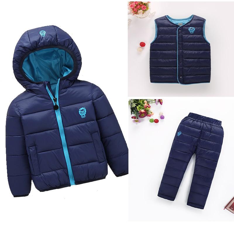 2017 Winter Baby Girls Boys Clothes 3pcs/Sets Children Down Coat+Vest+Pants Kids Infant Warm Outdoot Suits cheap free delivery <br>