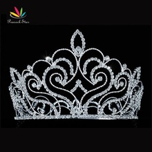 "Peacock Star Vintage Style Pageant Beauty Contest Tall 4.5"" Tiara Full Circle Round Crystal Crown CT1691"