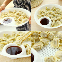 Popular Plastic Fruit Bowl Dumplings Dish Dual-layer Disc Tool #71317