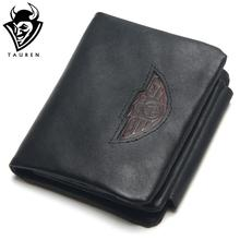 TAUREN Trifold Wallets Men Wallet 100% Design Men Fashion Purse Card Holder Wallet Man Genuine Leather With Zipper Coin Pockets(China)